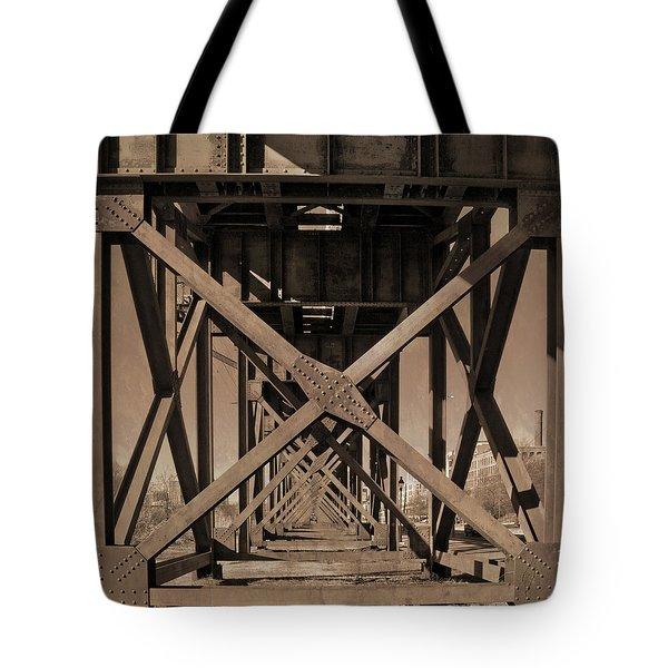 Railroad Trestle Sepia Tote Bag
