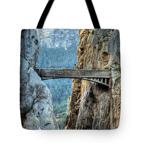 Tote Bag featuring the photograph Railway Bridge In El Chorro by Julis Simo
