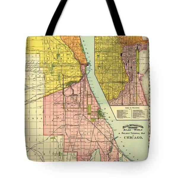 Railway Terminal Map Of Chicago 1897 Tote Bag