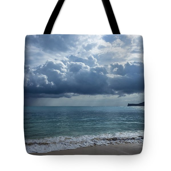 Tote Bag featuring the photograph Rain Clouds At Waimanalo by Leigh Anne Meeks