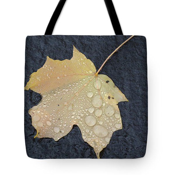 Rain Drops On A Yellow Maple Leaf Tote Bag