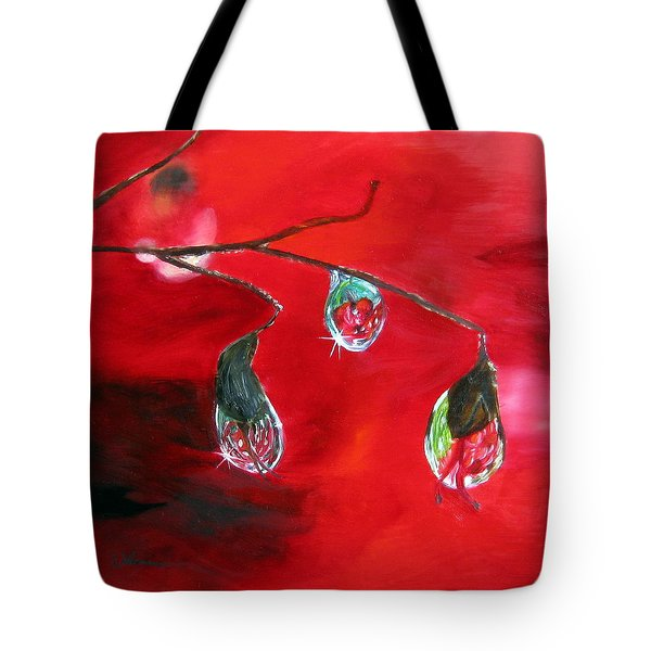 Tote Bag featuring the painting Rain Drops Study by LaVonne Hand