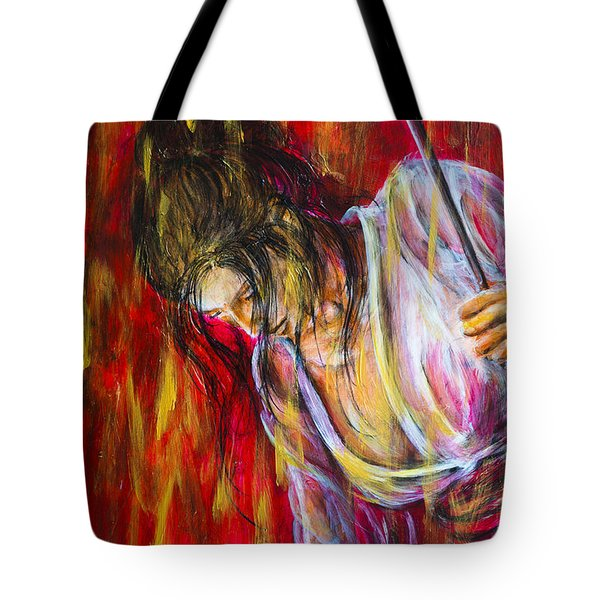 Tote Bag featuring the painting Rain Geisha Red by Nik Helbig