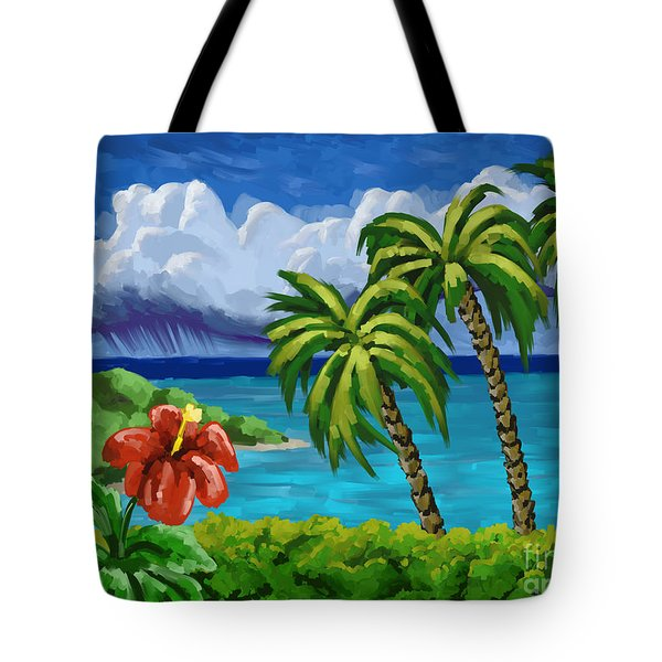 Tote Bag featuring the painting Rain In The Islands by Tim Gilliland