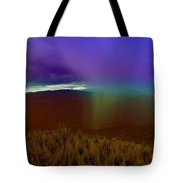 Rain North Of Bonners Ferry Tote Bag by Jeff Swan