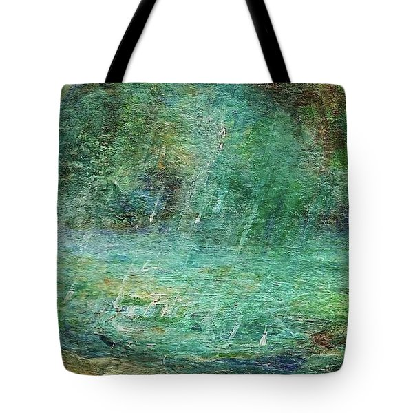 Tote Bag featuring the painting Rain On The Pond by Mary Wolf