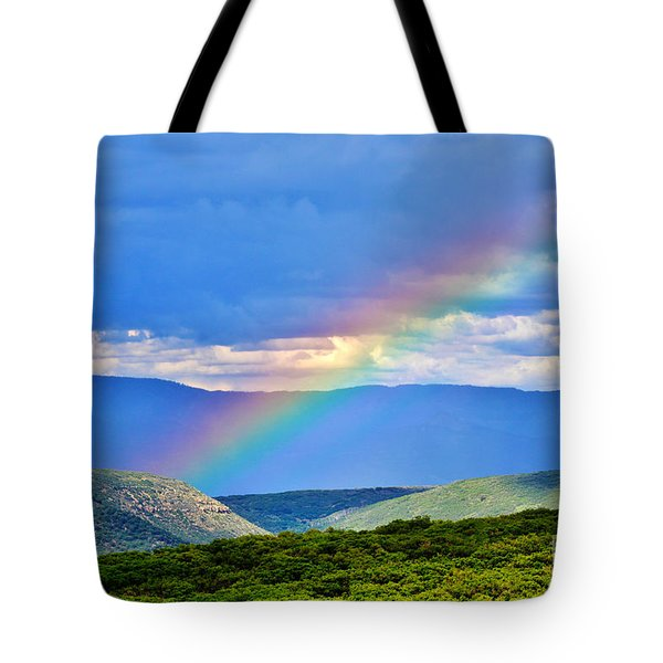 Rainbow Above The Canyon Tote Bag by Janice Rae Pariza