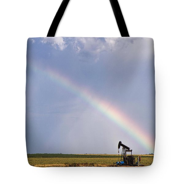 Tote Bag featuring the photograph Rainbow And Oil Pump by Rob Graham