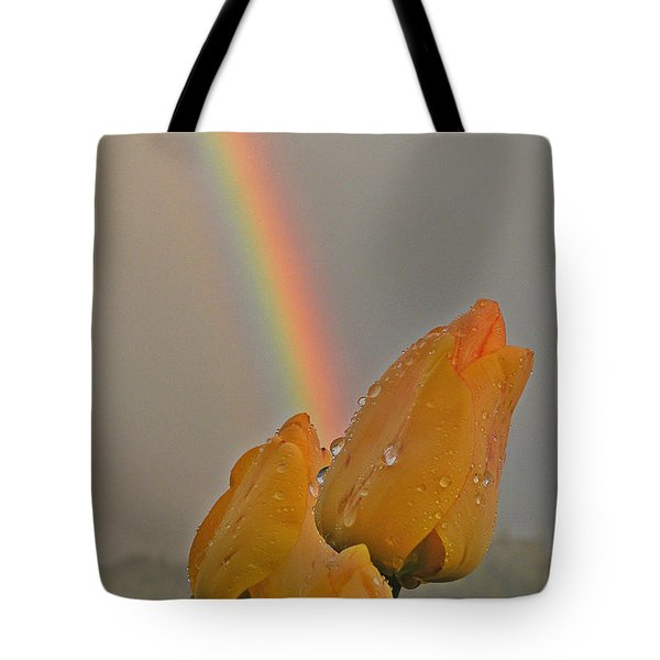 Rainbow And Tulips Tote Bag