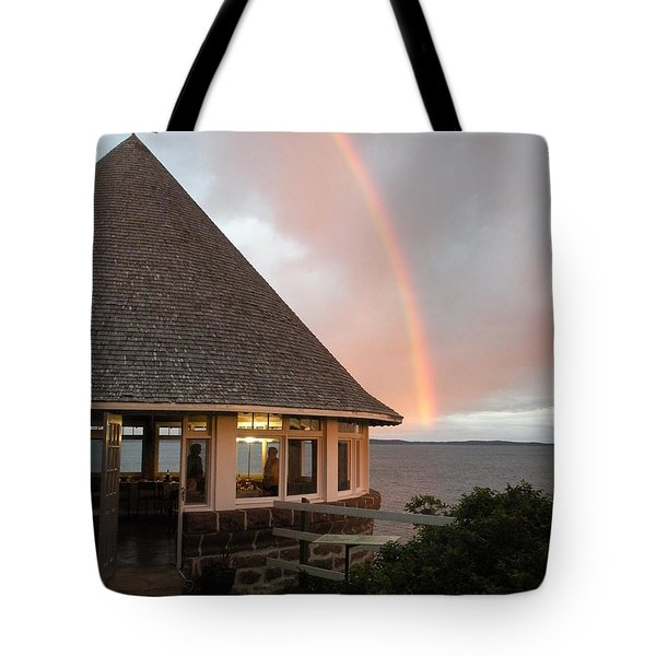 Rainbow At The Bath House Minister Island Nb Tote Bag
