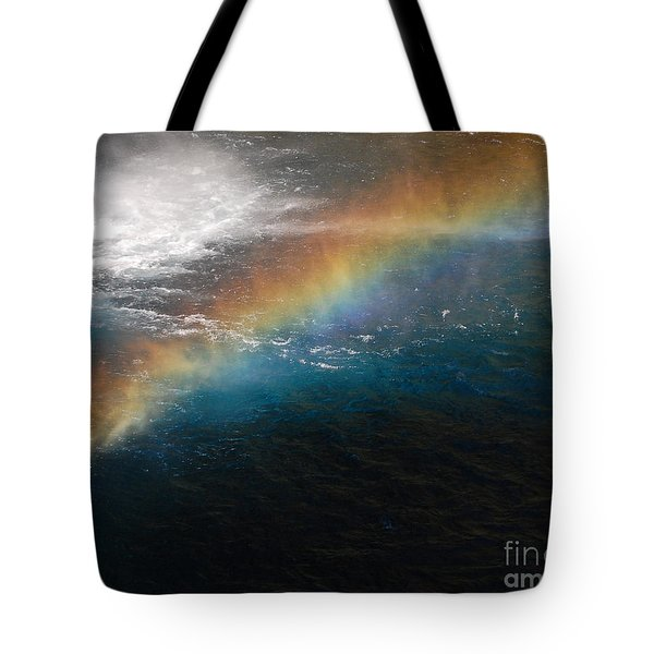 Tote Bag featuring the photograph Rainbow At Waterfall Base by Debra Thompson