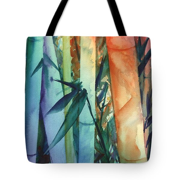 Tote Bag featuring the painting Rainbow Bamboo 2 by Marionette Taboniar