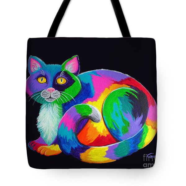 Rainbow Calico Tote Bag