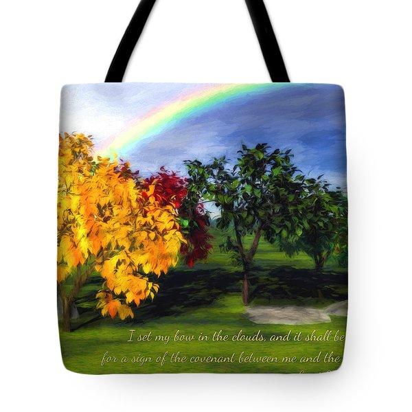 Rainbow Covenant Genesis Tote Bag