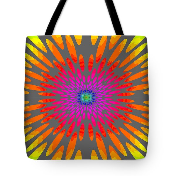 Rainbow Daisy Mandala  C2014  Tote Bag by Paul Ashby