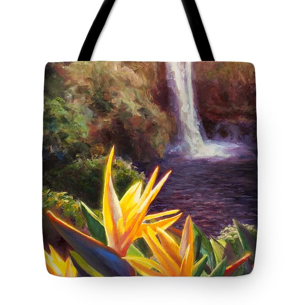 Rainbow Falls Big Island Hawaii Waterfall  Tote Bag