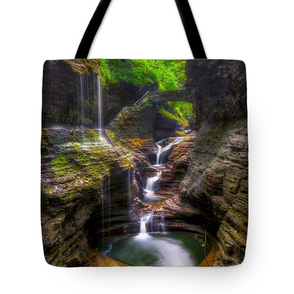 Rainbow Falls Of Watkins Glen Tote Bag by Mark Papke