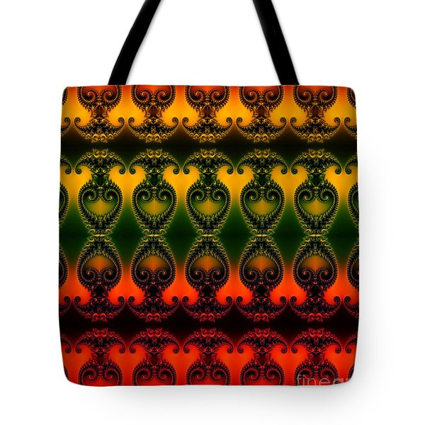 Tote Bag featuring the digital art Rainbow Fractal Pattern by Clayton Bruster