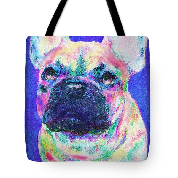 Tote Bag featuring the digital art Rainbow French Bulldog by Jane Schnetlage