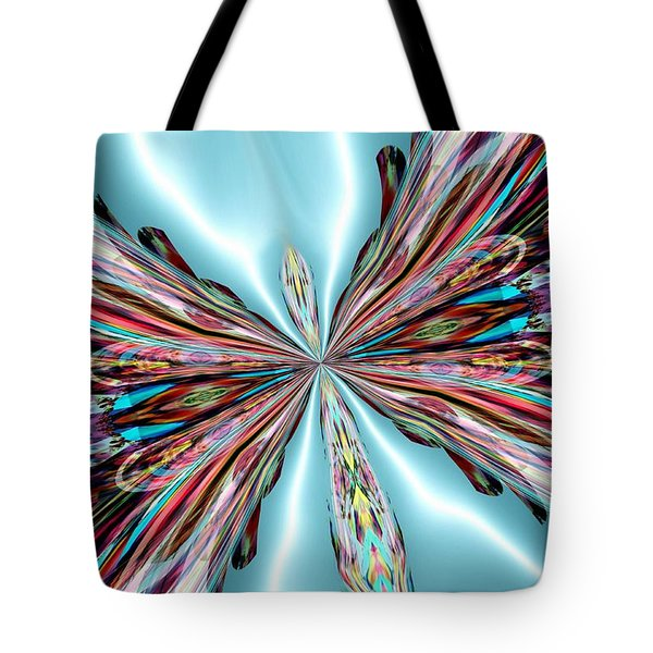 Rainbow Glass Butterfly On Blue Satin Tote Bag