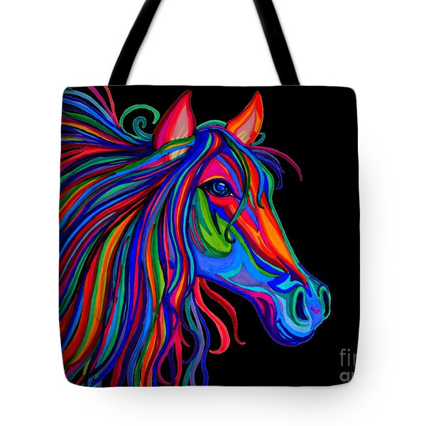 Rainbow Horse Head Tote Bag