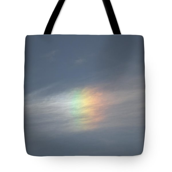 Tote Bag featuring the photograph Rainbow In The Clouds by Eti Reid