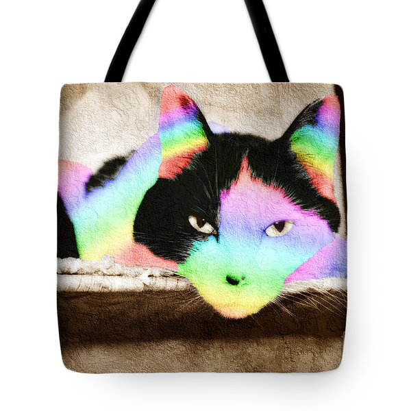 Rainbow Kitty Abstract Tote Bag by Andee Design
