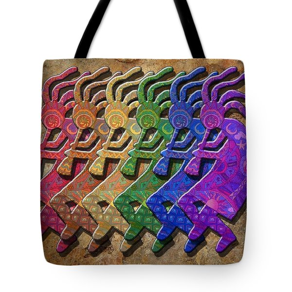 Rainbow Kokopellis Tote Bag by Megan Walsh