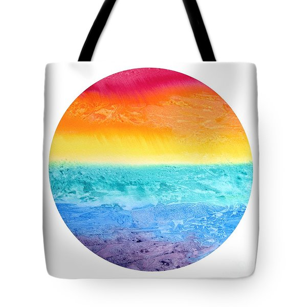 Tote Bag featuring the painting Rainbow Landscape  by Susan  Dimitrakopoulos