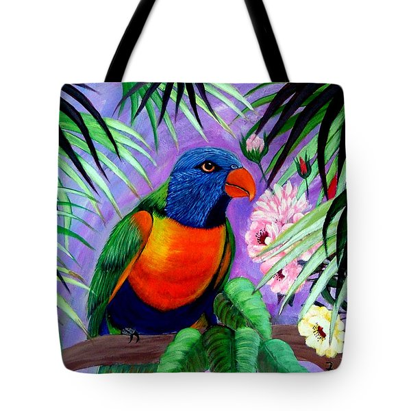 Tote Bag featuring the painting Rainbow Lorikeets. by Fram Cama