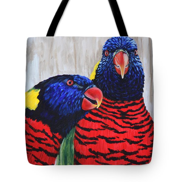 Tote Bag featuring the painting Rainbow Lorikeets by Penny Birch-Williams