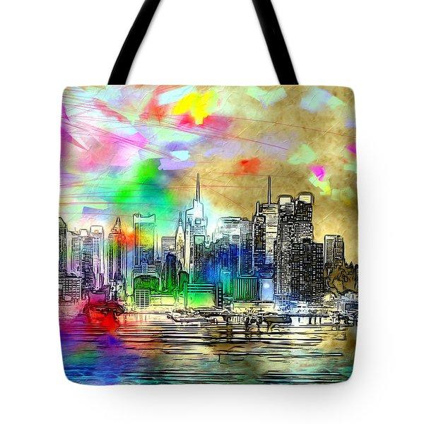 Rainbow Nyc Skyline Tote Bag by Daniel Janda