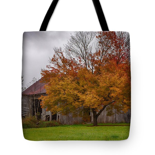 Tote Bag featuring the photograph Rainbow Of Color In Front Of Nh Barn by Jeff Folger