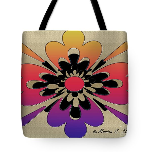Rainbow On Gold Floral Design Tote Bag