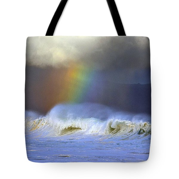 Rainbow On The Banzai Pipeline At The North Shore Of Oahu Tote Bag by Aloha Art