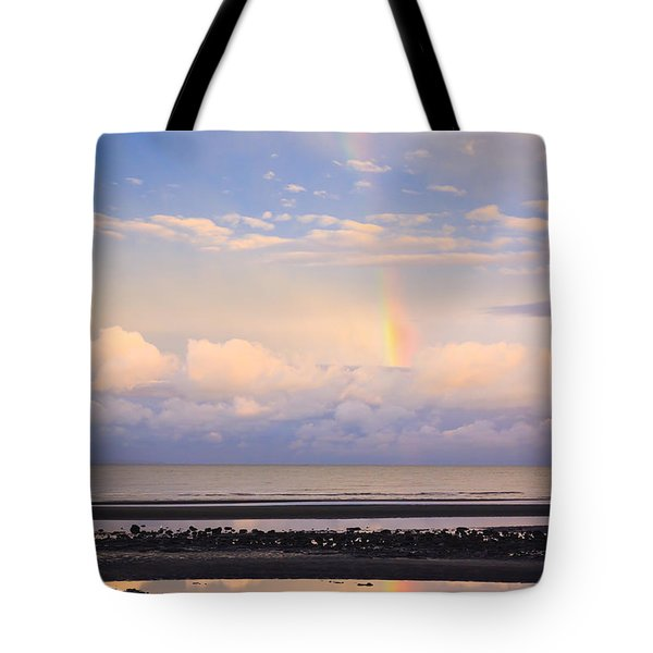 Tote Bag featuring the photograph Rainbow Over Bramble Bay by Peta Thames