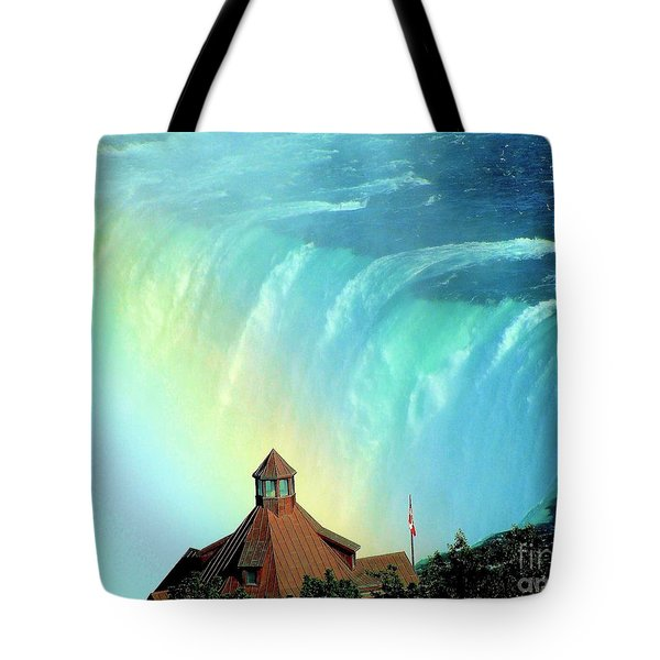 Tote Bag featuring the photograph Rainbow Over Horseshoe Falls by Janette Boyd