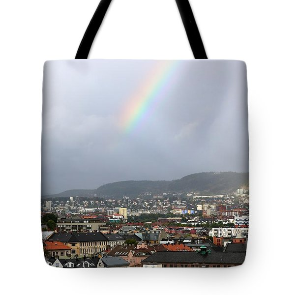 Rainbow Over Oslo Tote Bag by Carol Groenen