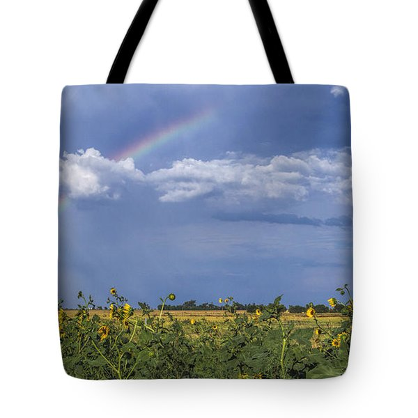 Tote Bag featuring the photograph Rainbow Over Sunflowers by Rob Graham