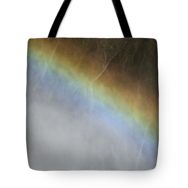 Tote Bag featuring the photograph Rainbow Over The Falls by Laurel Powell