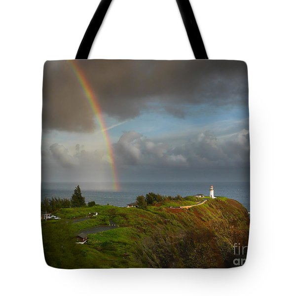 Rainbow Over Kilauea Lighthouse On Kauai Tote Bag