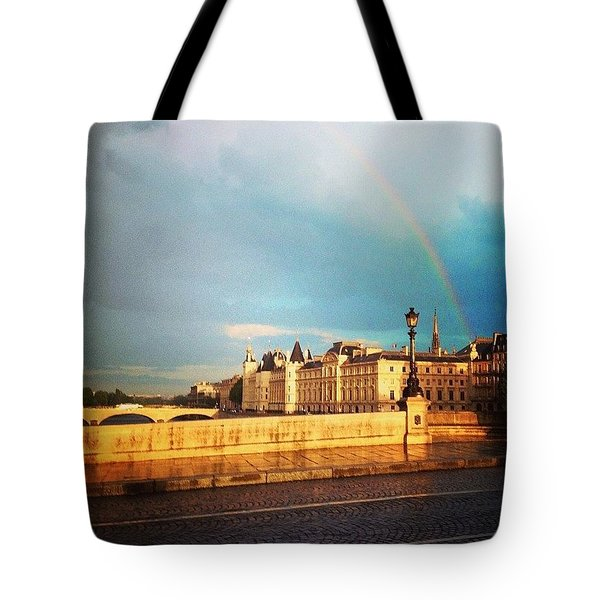 Rainbow Over The Seine. Tote Bag