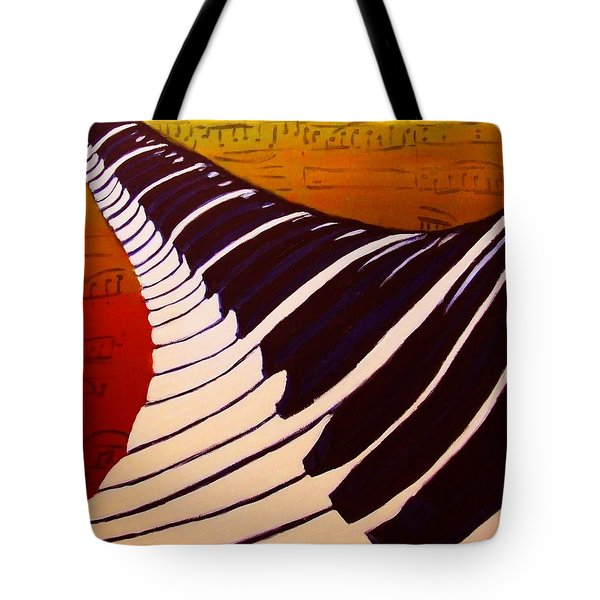 Rainbow Piano Keyboard Twist In Acrylic Paint With Sheet Music Notes In Blue Yellow Orange Red Tote Bag