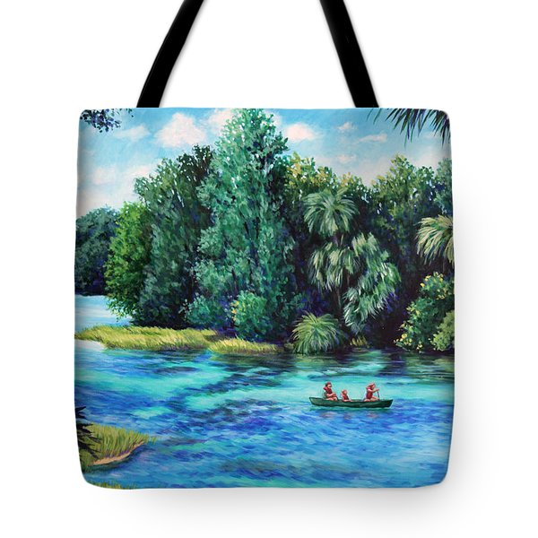 Tote Bag featuring the painting Rainbow River At Rainbow Springs Florida by Penny Birch-Williams