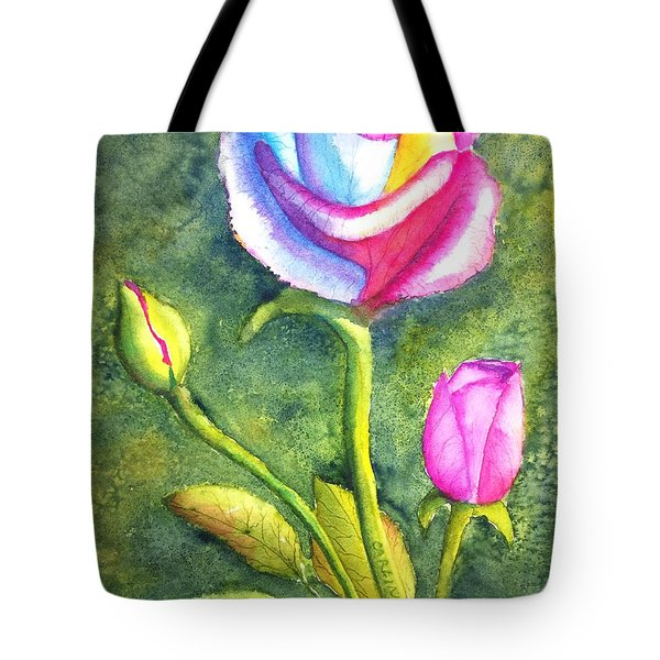 Rainbow Rose And Buds Tote Bag