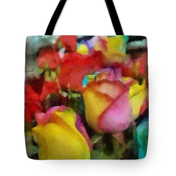 Rainbow Roses Watercolor Digital Painting Tote Bag by Eti Reid