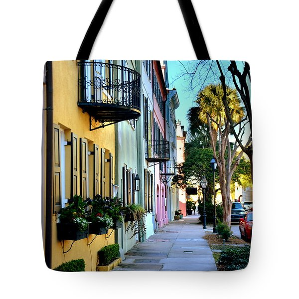 Tote Bag featuring the photograph Rainbow Row Hdr by Lisa Wooten