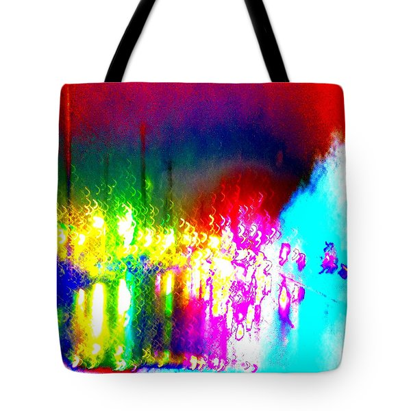 Tote Bag featuring the photograph Rainbow Splash Abstract by Marianne Dow