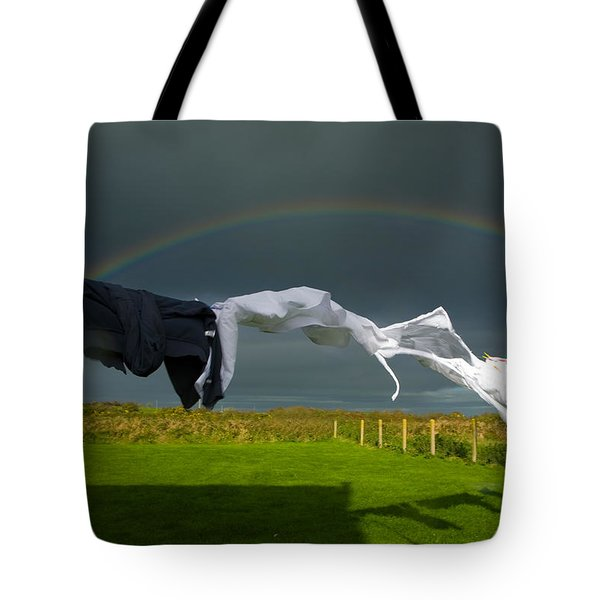 Rainbow, Stormy Sky And Clothes Line Tote Bag