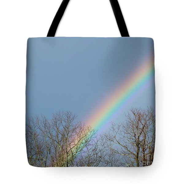 Tote Bag featuring the photograph Rainbow Through The Tree Tops by Kristen Fox